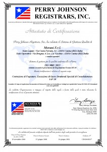 Certificato Morani srl 9001 -2015